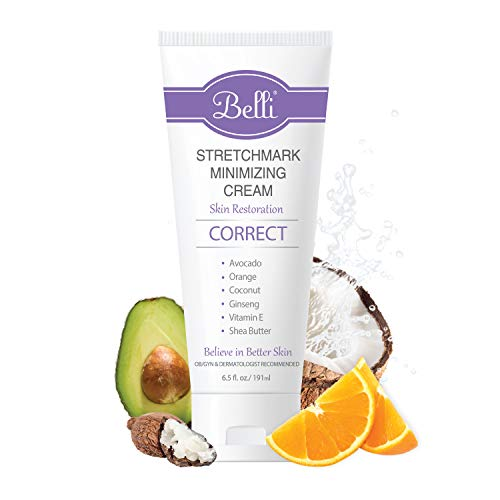 Belli Stretchmark Minimizing Cream. for Existing Stretch Marks of Any Age or from Any Cause – Features Darutoside, Regestril, and Avocado Oil – OB/GYN and Dermatologist Recommended – 6.5 oz