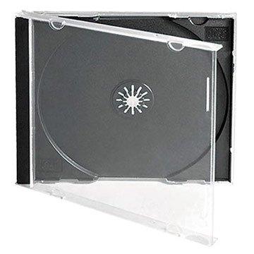 CD Leer Hülle mit schwarzem Innenteil [Jewel Case mit Black Tray]- ideal als Ersatz für gesprungene CD-Hüllen, zum Austausch oder als stabile professionelle Aufbewahrung für selbst gebrannte CDs (Packung mit 5 Stück)