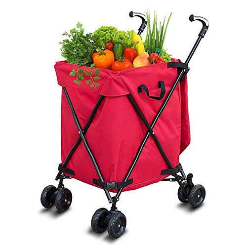 summerr Shopping Trolley,Folding 8 Wheel Large Capacity Shopper Noiseless 360°Rotate Wheel & Adjustable Aluminum Alloy Handle Folding Boot Cart (Color : Red)