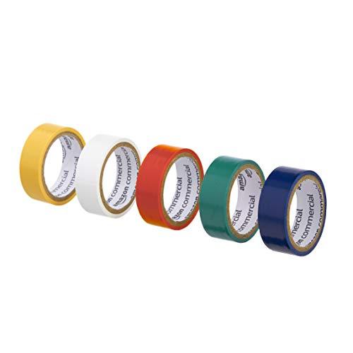 AmazonCommercial - Nastro adesivo colorato in vinile plastificato, 1.9 cm x 3.17 m, multicolore, confezione da 10
