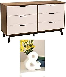 Mainstays Mid Century Modern 6 Drawer White Dresser