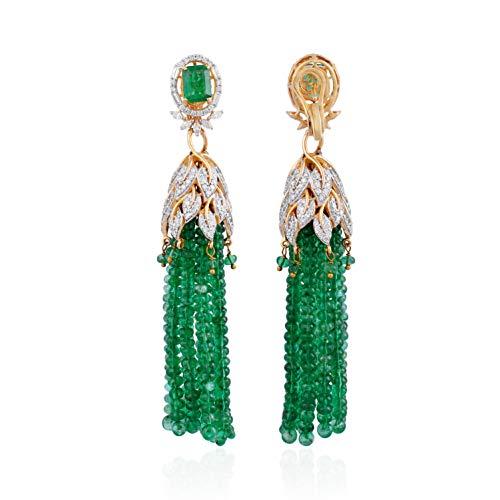 Spectrum Jewels 18K Oro Giallo Ciondola Con 7,5 Carati Diamante Naturale (Si Chiarezza Colore Hi) Pietra Preziosa Verde Smeraldo Per Unisex