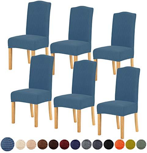 TIANSHU Eetkamerstoelhoes,Eetstoelhoezen stretch stoelhoezen 6-pack, afneembare wasbare stoelhoezen voor hotel eetkamer ceremonie banket bruiloft decor(6-pack,Denim Blauw)