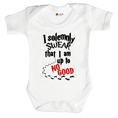 "Enterizo de bebé de Harry Potter con la frase ""I solemnly Swear That I am Up To No Good"" Talla:recién nacido"