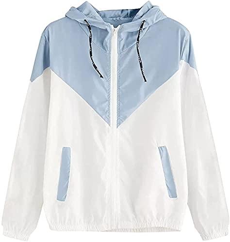 Hcxbb-1 Abrigo de mujer de mujer Abrigo con cortavebrevientos rompevientos (Color : Ad-bleu Ciel, Size : L)