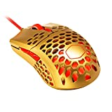 Golden red Ergonomic Gaming Mouse 60G 16000 DPI PixArt PMW 3389 Optical Sensor Ultraweave Cable RGB Accents