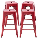 FDW Metal Bar Stools Set of 4 Counter Height Barstool Stackable Barstools 24 Inch 30 Inch Indoor Outdoor Patio Bar Stool Home Kitchen Dining Stool Backless Bar Chair (Red, 24')