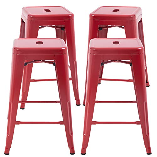 """FDW Metal Bar Stools Set of 4 Counter Height Barstool Stackable Barstools 24 Inch 30 Inch Indoor Outdoor Patio Bar Stool Home Kitchen Dining Stool Backless Bar Chair (Red, 24"""")"""