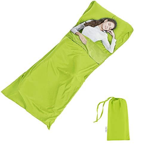 Fodera per Sacco a Pelo per Campeggio Viaggio - Portatile Sleeping Bag - Resistente e Super Morbida con Tasche per Cuscino e Borsa per Albergo Montagna Ostelli Picnic