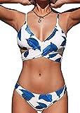 CheChury Conjunto de Bikini Push Up Trajes de Baño de 2 Piezas para Mujer Cintura Baja Bikini de Tiras Impresión de Hojas de Colores Bikinis Retro