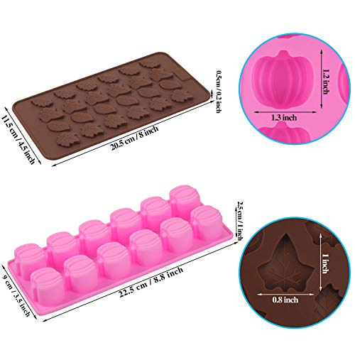 4 Pieces 3D Mini Silicone Molds Halloween Pumpkin Candy Mold Thanksgiving Leaf Shaped Candy Chocolate Mold Ice Cube Tray for Making Halloween Candy, Muffins, Chocolates, Cake, Soap, Candle