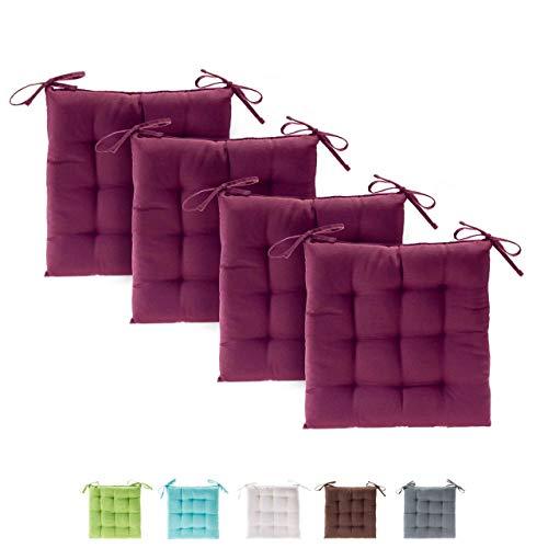 etérea Basic Sitzkissen, Stuhlkissen mit Bändern - für Innen- und Außenbereich geeignet, Sitzpolster Auflage für Haus und Garten - 4er Set - 40x40 cm, Bordeaux