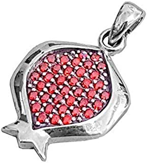 925 Silver Pomegranate Pendant Necklace set with Red Garnets