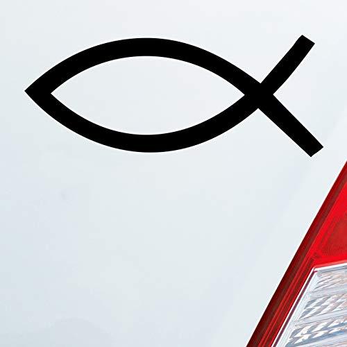 Auto Aufkleber in deiner Wunschfarbe Kirche Church Fische Symbol Jesus Gott 15x6 cm Autoaufkleber Sticker Folie