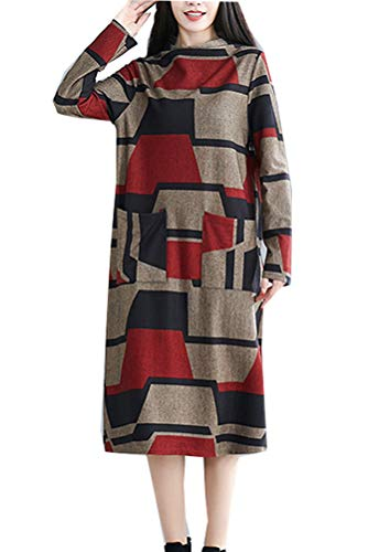 Minibee Women's Checked Plaid Tunic Turtleneck Shirt Dress Fall Long Sleeves Tops with Pockets Red