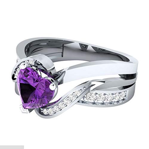 CAVIVIUK Anillo de corazón con corte de diamante, elegante con piedras preciosas, para boda, regalo de cumpleaños de niñas, color morado