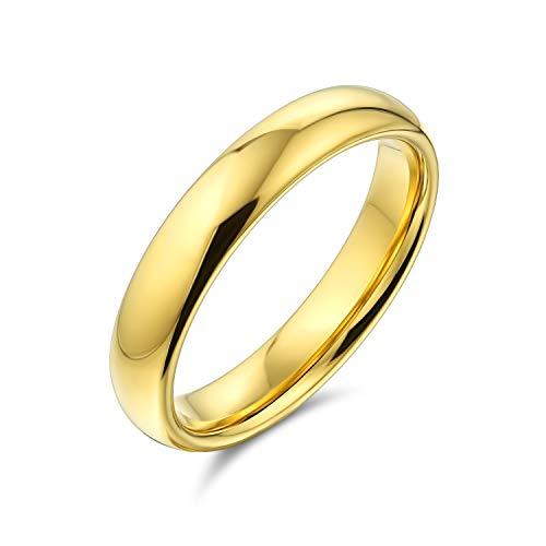 Bling Jewelry Semplice Semplice Cupola Sottile Coppie Titanio Fede Nuziale lucidato 14K Anello Placcato Oro per Gli Uomini per Le Donne Comfort Fit 4MM