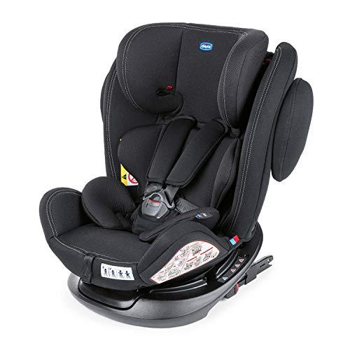 Chicco Unico Plus Seggiolino Auto 0-36 kg ISOFIX Reclinabile, Gruppo 0+/1/2/3 per Bambini da 0 a 12 Anni, Facile da Installare, Poggiatesta Regolabile, Protezione Laterale e Cuscino Riduttore, Nero