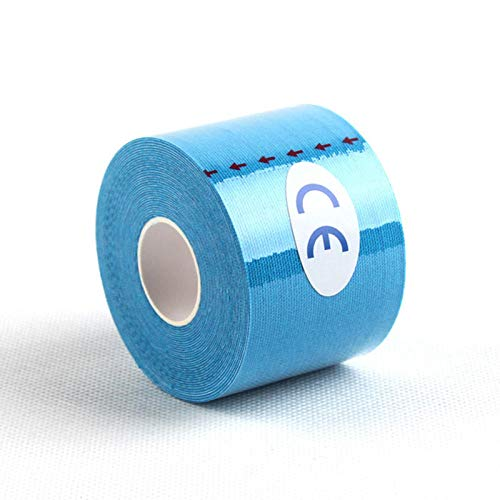 Gifftiy Knieschoner 5M Kinesiology Cotton Tape Elastic Muscle Physiotherapy Tape Athletic Strapping Gym Fitness Running Knee Bandage Sticky Medical-Blue_5Cm_X_5M
