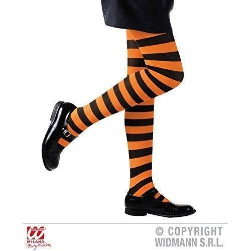Lively Moments Collants en Noir Orange Rayé pour Enfants de 4-6 Ans pour Carnaval/Halloween/Sorcière/Déguisement pour Enfant / Costume d'halloween