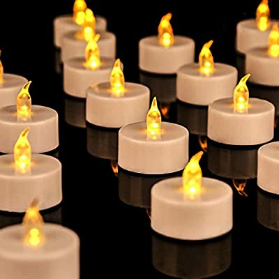 JUNPEI 24Pack Battery Tea Lights - LED Tea Lights Realistic and Bright Flickering Holiday Gift Operated Flameless LED Tea Light for Seasonal & Festival Celebration Warm Yellow Lamp Battery Powered by