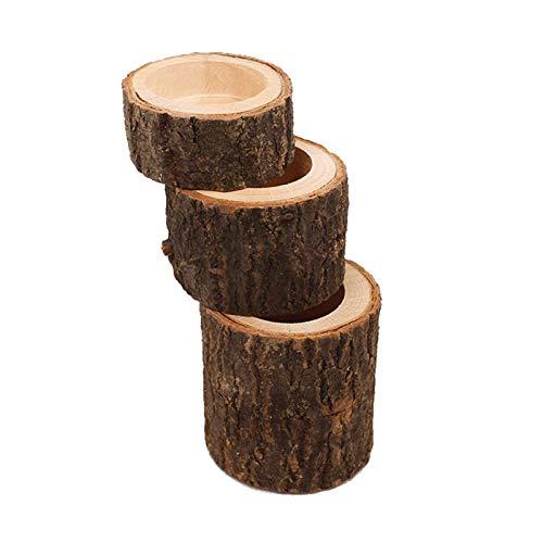 Juego de 3 portavelas de corteza de madera, soporte para plantas, maceta, soporte para bolígrafo, soporte de madera, soporte para velas, innovador portavelas para bodas, casa, spa