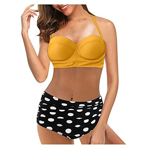 BIBOKAOKE Bikini para mujer push-up, traje de baño de dos piezas, atado al cuello, sexy, triángulo, parte superior de talle alto, bikini deportivo para la playa, Amarillo4, S