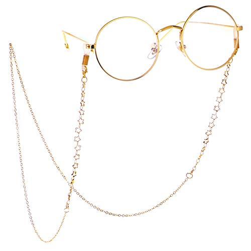 LUFF Cadena de gafas antideslizantes Gafas Gafas Correa de metal retro cadena gafas de sol gafas titula(Gold)