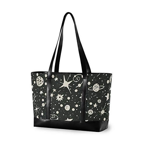 XiangHeFu Einkaufstasche Große Kapazität Computeruniversum Planeten Meteor Handtasche Mädchen Mode Casual