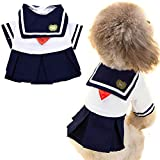 ANIAC Pet Navy Captain Suit Sailor Costume Student Uniform with Red Bow-Knot Cute Skirt Warm Clothes for Cats and Dogs (Small)