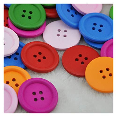 ZHJKK 50 unids 4 Agujeros Tamaño Mezclado Botones de Madera Crafto Redondo Costura Botones Scrapbook DIY Decoración del hogar Accesorios (Color : 20 pcs 30 mm)