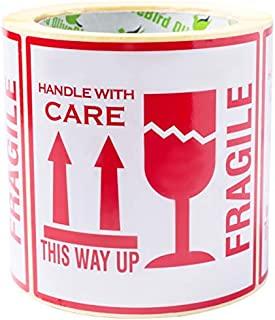 100 AufkleberFragile. This Way Up. Handle With Care, Etiketten, groß 10 x 10 CM White-red - 100 Stück