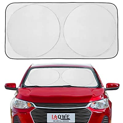 IAQWE Windshield Sun Shade 59x30 Inch Blocks UV Rays Foldable Sun Visor Shield Sunshade with Automotive Interior Protection for Most Vehicle SUV Truck Pickup, 1 Pack (Small)