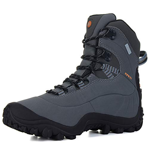 XPETI Men's Thermator Mid-Rise Waterproof Hiking Trekking Insulated Outdoor Boots Grey 11