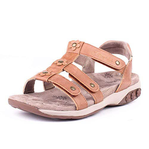 Therafit Claire Women's Leather Gladiator Adjustable Sandal - for Plantar Fasciitis/Foot Pain
