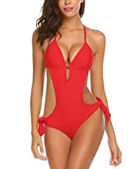 Enter discount code GA82WSD7 to get 50% OFF. The one piece swimsuit features plunging cut v-neck design, adjustable halter straps tie at neck and adjustable straps under bust, removable padding bra One piece monokini provides moderate coverage for bo...