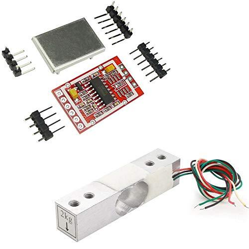 Aihasd 2KG Digitale Wägezelle Gewichtssensor Tragbar Elektronische Küchenwaage + HX711 AD Wägesensoren Wägemodul Metallschild Für Arduino