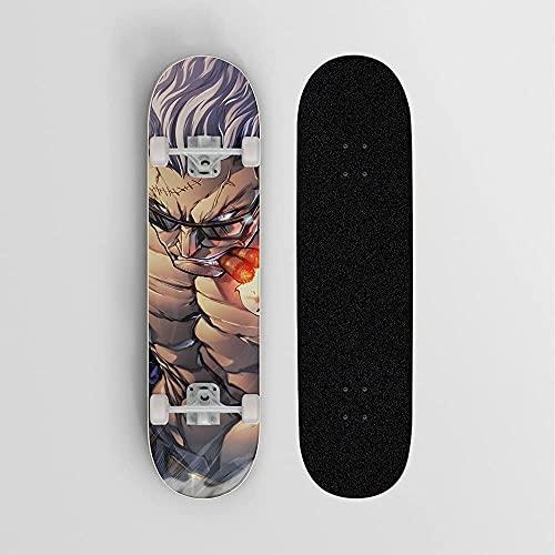 Anime Skateboard für einen Stück Raucher Lieutenant Mini Cruiser- Doppelte Kick Skateboards 7 Ebenen Ahornholz Deck Trick Doppel Kick Concave Skateboards für Mädchen Jungen Kinder Teenager Erwachsene