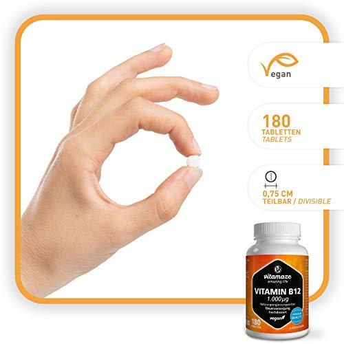 Vitamaze® Vitamina B12 1000 mcg Alto Dosaggio Metilcobalamina Pura, 180 Compresse Vegan Fornitura 12 mesi per l'ingestione Orale, Qualità Tedesca, Naturale Integratore senza Additivi non Necessari