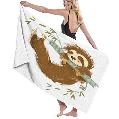 NANITHG Toallas de Playa Antiarena Pereza Feliz Alegre Animal columpiándose en la Rama de un árbol Dibujado a Mano ilustración de Dibujos Animados Toallas Baño Secado Rapido Piscina,Toalla Yoga
