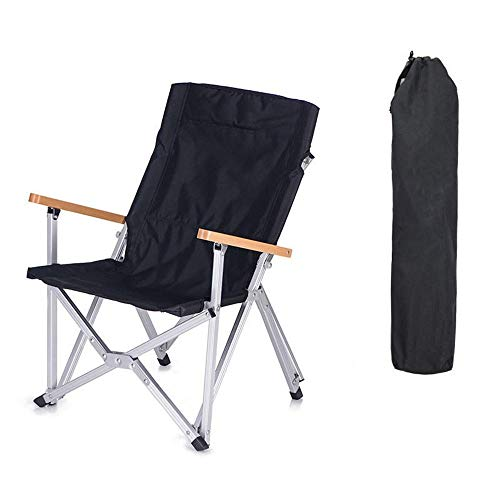 Wandern Klappstühle Camping Picknick Grill Sitz Max Laden 120kg PVC Oxford Klappstuhl Ultra-Light Fishing Chair Angeln Klappstühle (Color : Black, Size : One Size)
