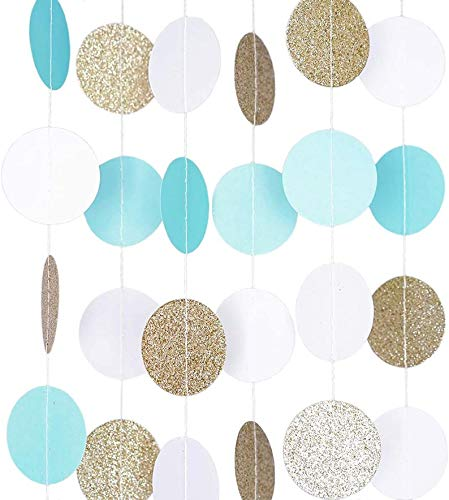 Garland Streamer, Hanging (VRZ) Backdrop, Birthday, Graduation, Party (5 Garlands, Baby Blue Circle Dots)