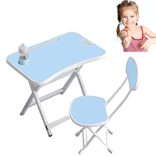 LIANGZHI Writing desk, childrens dining table, learning desk, dining table, foldable table and chair, X-shaped bold bracket, stable and not deformed for 3-15 Years Old Students (Small size blue)