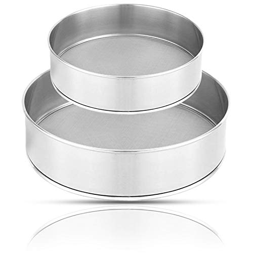 Stainless Steel Round Sifter,Flour Sifter for Baking (6-Inch and 8-Inch) for Bake Decorate Cakes,Pies,Pastries,Cupcakes