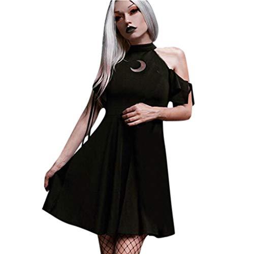 Gothic Kleid Damen Mittelalter Kostüm Vintage Steampunk Kleid Cocktailkleid Lolita Kleid Schulterfrei Kurzarm Gotische Kleidung Party Kleid Weihnachten Erwachsene Cosplay