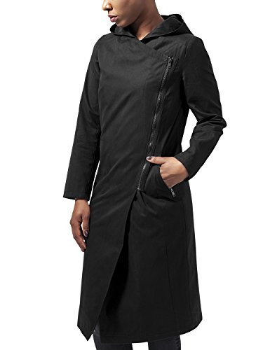 Urban Classics Damen Ladies Peached Long Asymmetric Coat Mantel, Schwarz (Black 7), 36 (Herstellergröße: S)