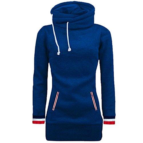 ShallGood Mujer Otoño Sudadera con Capucha Largo Casual Deportiva Cuello Alto Deporte Manga Larga Camisetas Camisa Entrenamiento Tops Azul UK 6
