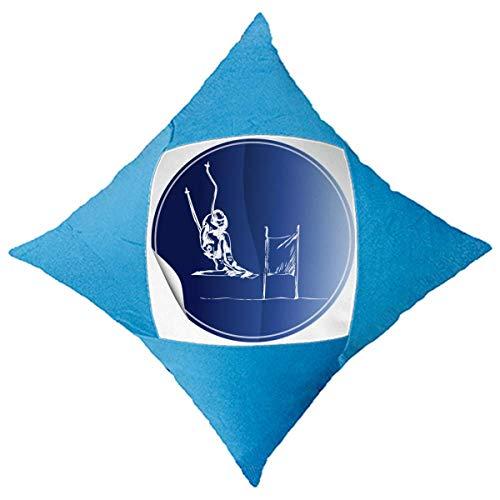 Giftdesign Deporte de Invierno, Esqui esquis Patron Decorativo di copertina BLU a cuscino
