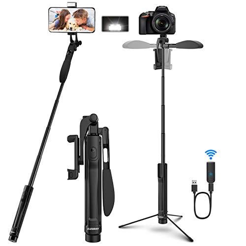ELEGIANT Selfie Stick Stativ,4-IN-1 Selfie Stange 360° drehbar mit Video-Balance-Griff+Bleutooth Fernbedienung+LED Licht Für Kamera/Handy bis 6.8