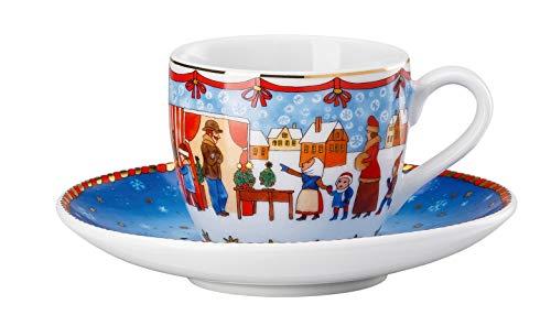 Hutschenreuther 02476-727312-14715 Espressotasse 2-teilig Weihnachtsmarkt 0,08 l / 12 cm Tasse, Espresso-Untertasse, Porzellan